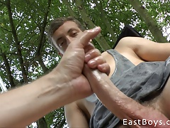 Big Dick Getting Handjob in Garden