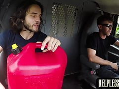 Bound dude roughly fucked in the the van by a stranger