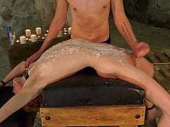 Sub Avery Monroe jerked off during waxing session
