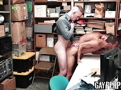 Latino jock thief barebacked in office threesome