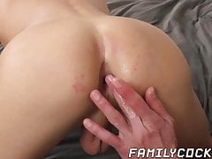 Young stepson barebacked and creampied by stud daddy