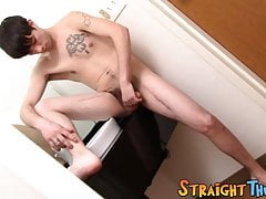 Solo masturbation with an inked twink with a hairy cock