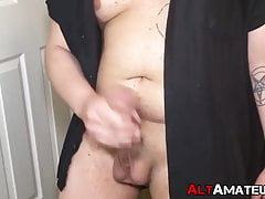 Chubby punk rocker jerks off his fat cock and cums in hands