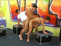 Hot Teen Twinks 3-Way bareback Ends with Latin Twink Facial