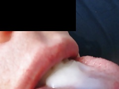 Swallowing a hot load of gooey cum