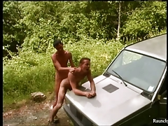 Smooth Handsome Raunchy Boys Outdoor Anal Sex On Da Car Hood