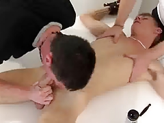 Tied 19yo is milked, teased by 2 gay guys