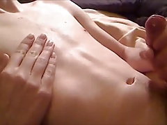 Twink shooting nice cum loads from his hard young cock