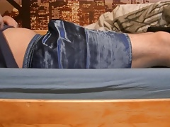 Sagging in Blue Satin Boxershorts