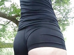 Volleyball shorts walk and tease