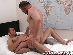 Young stepson barebacks his bearded and hunky stepdad
