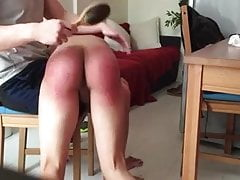Smooth twink gets otk spanking and hairbrush CMNM