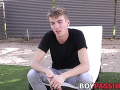 Interviewed twink takes a shower and jacks off until he cums