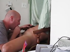 Homemade glory hole sit down blowjob