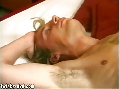Yummy skinny twink cums while getting butt-banged