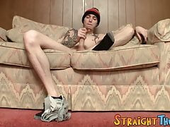 Skinny straight twink with tattoos plays with his dick