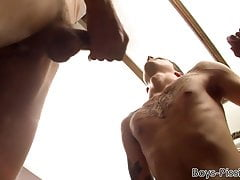 Tied up guys fill deviants with cock and piss in wild orgy