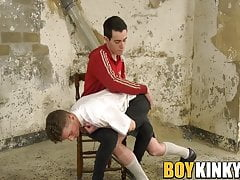 Twink in school uniform jacked off by his dominant master